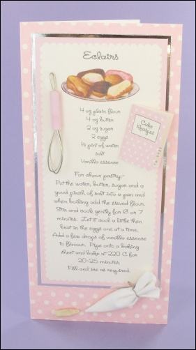 Eclairs Recipe card