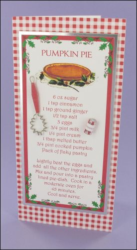Christmas Pumpkin Pie Recipe Card